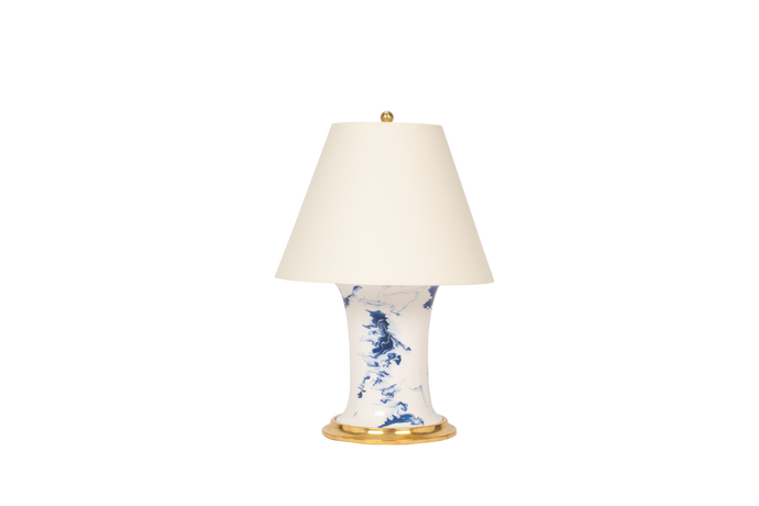 Hand Thrown Patricia Medium Lamp in Delft Blue Marble