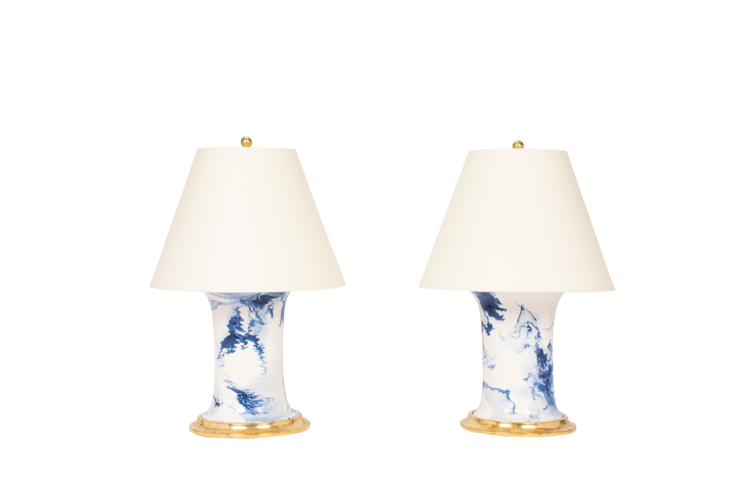 Hand Thrown Patricia Medium Lamp Pair in Delft Blue Marble