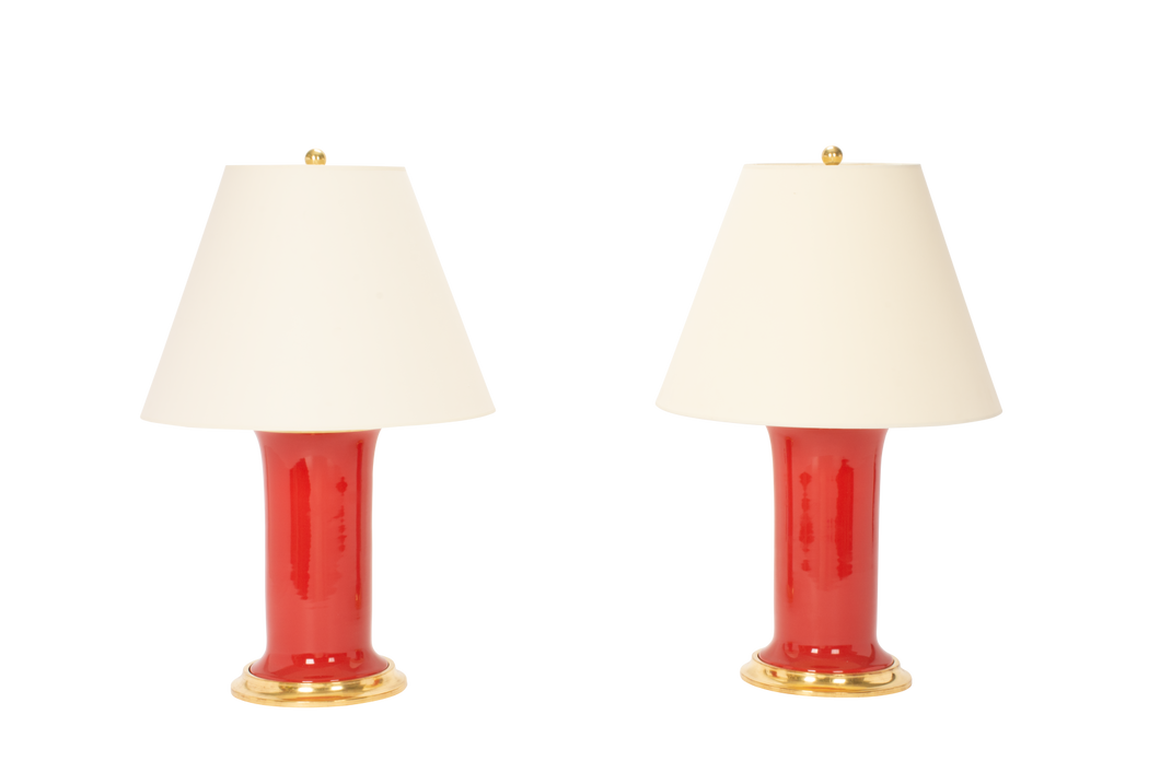 Patricia Medium Lamp Pair in Raspberry