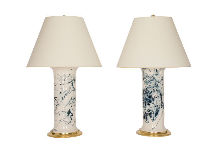 Patricia Large Lamp Pair in Teal Marble