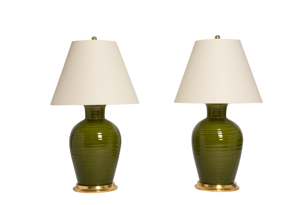 Penny Lamp Pair in Spruce with Throwing Lines