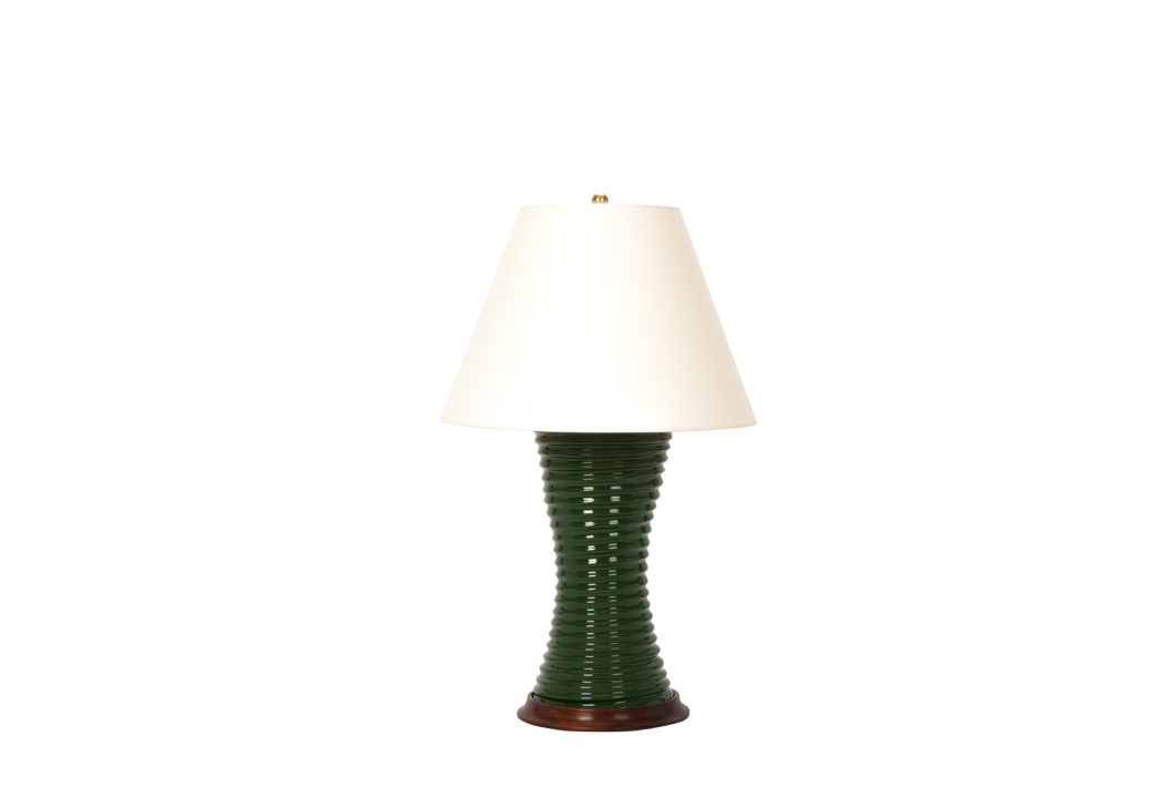 Ribbed Hourglass Lamp in Dark Green