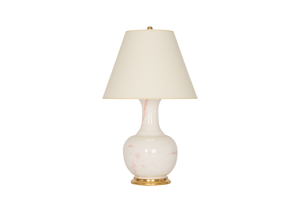 Ridged Single Gourd Lamp in Pink Marble