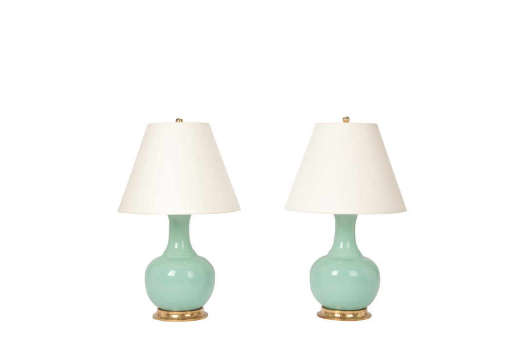 Ridged Single Gourd Lamp Pair in Pale Blue Green