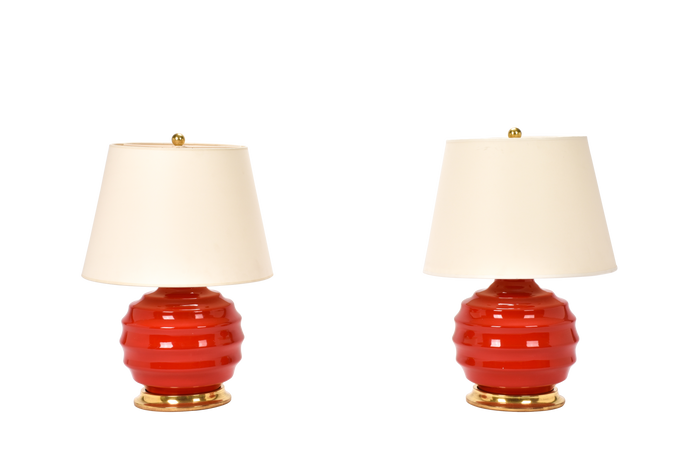 Wide Ribbed Ball Lamp Pair in Red