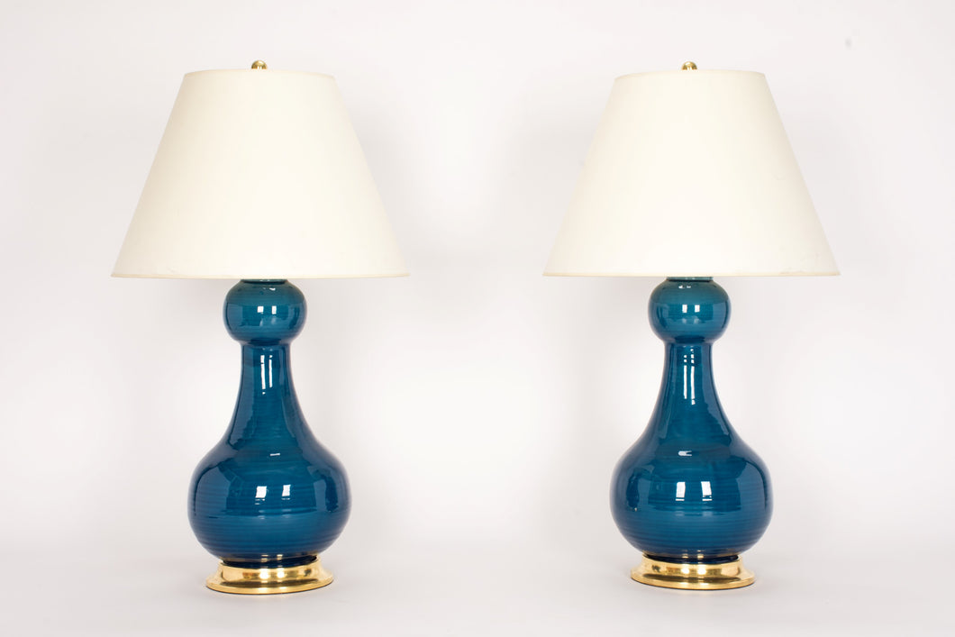 Sam Lamp Pair in Prussian Blue