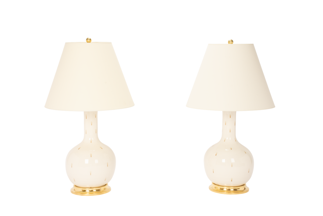 Single Gourd Medium Lamp Pair in Clear with Espresso Dots