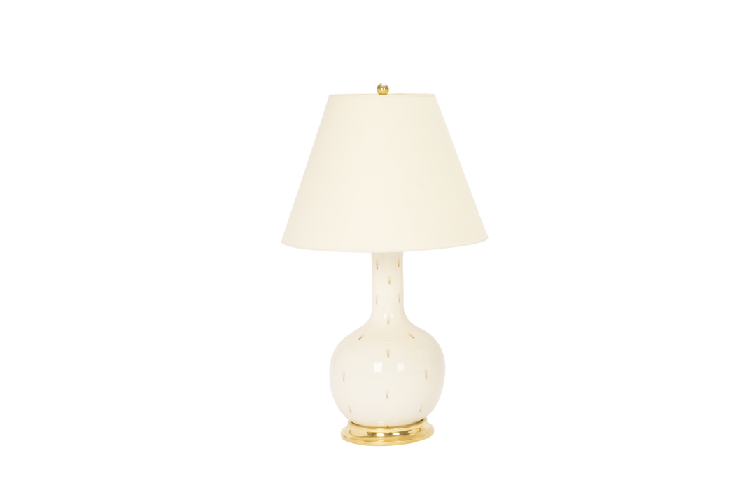 Single Gourd Medium Lamp in Clear with Espresso Dots