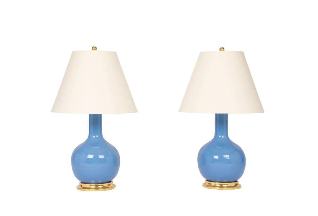 Single Gourd Medium Lamp Pair in Cornflower Blue