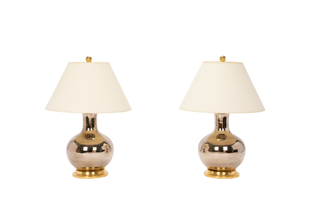 William Small Lamp Pair in Platinum Luster