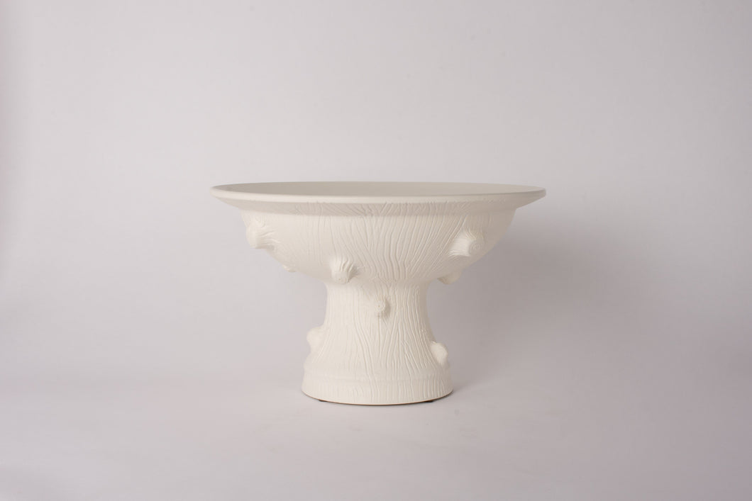 Hand Thrown Medium Faux Bois Pedestal Bowl in Matte White