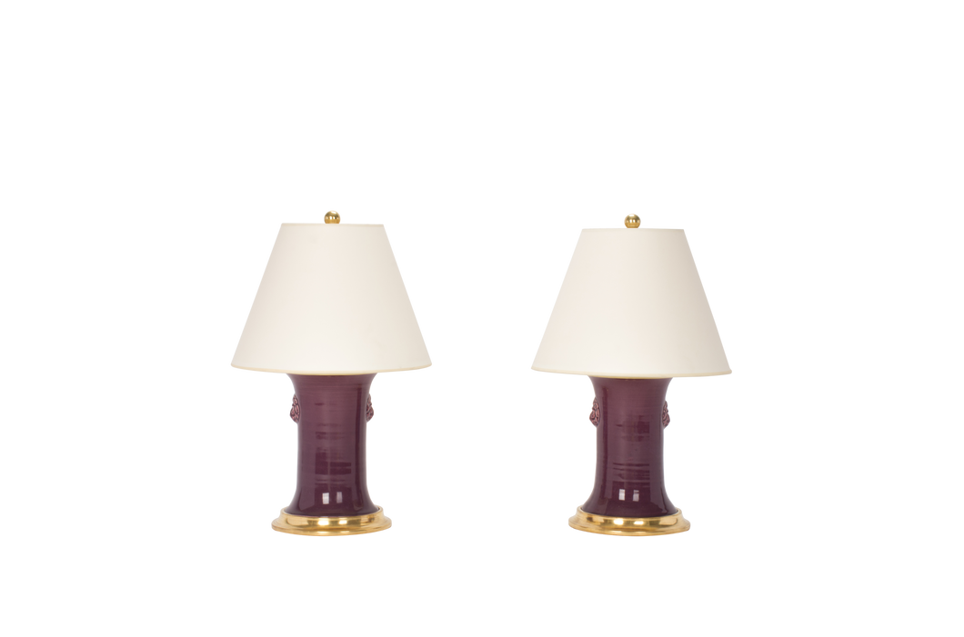 Patricia with Lions Small Lamp Pair in Aubergine