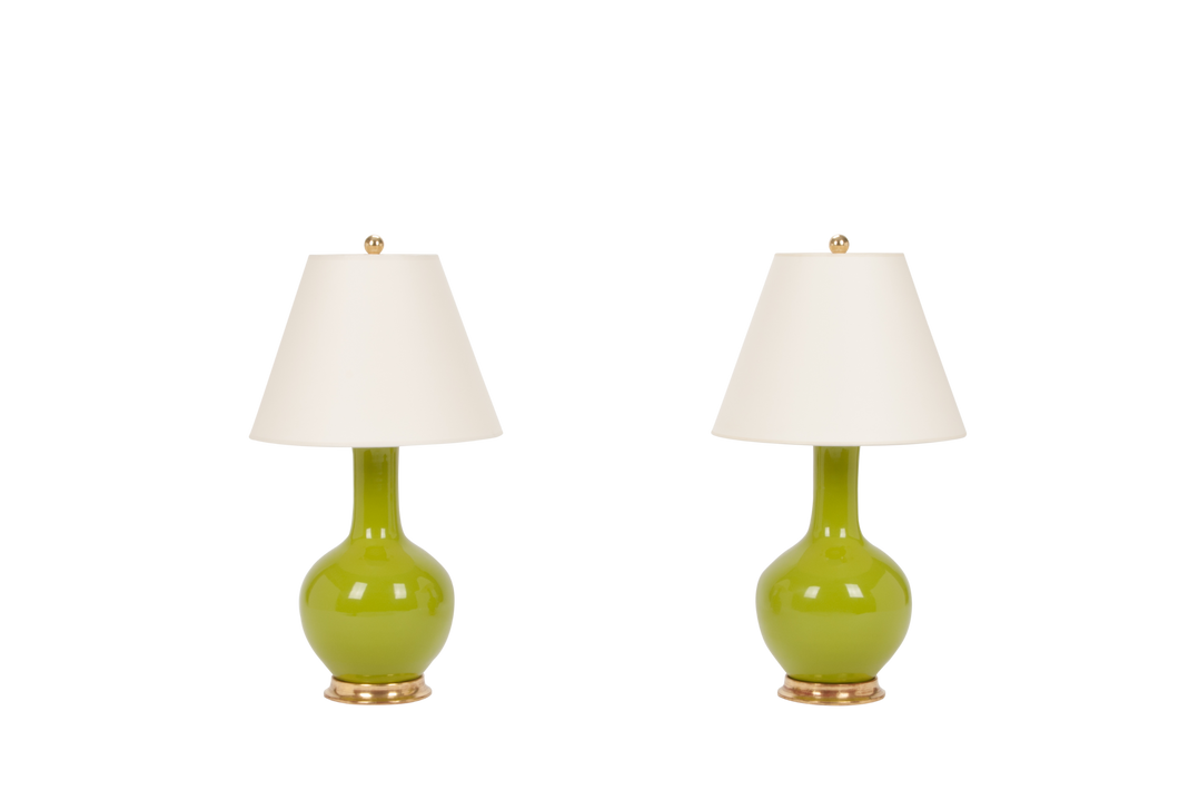 Single Gourd Small Lamp Pair in Chartreuse