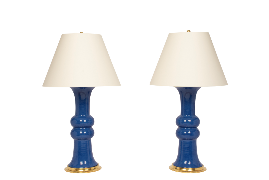 Sophie Large Lamp Pair in Sapphire Blue