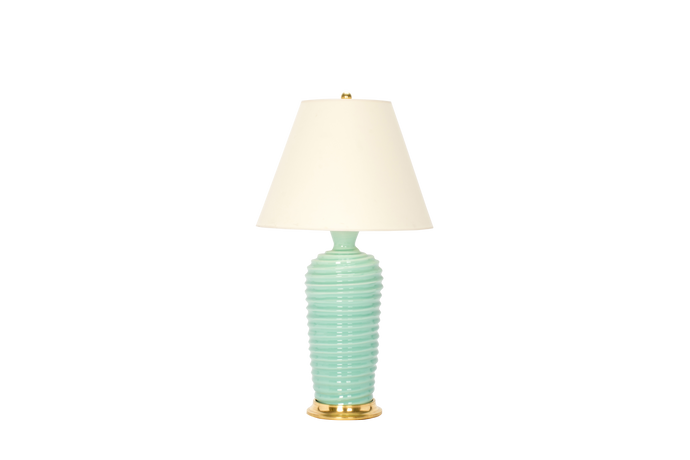 Spiral Lamp in Pale Blue Green