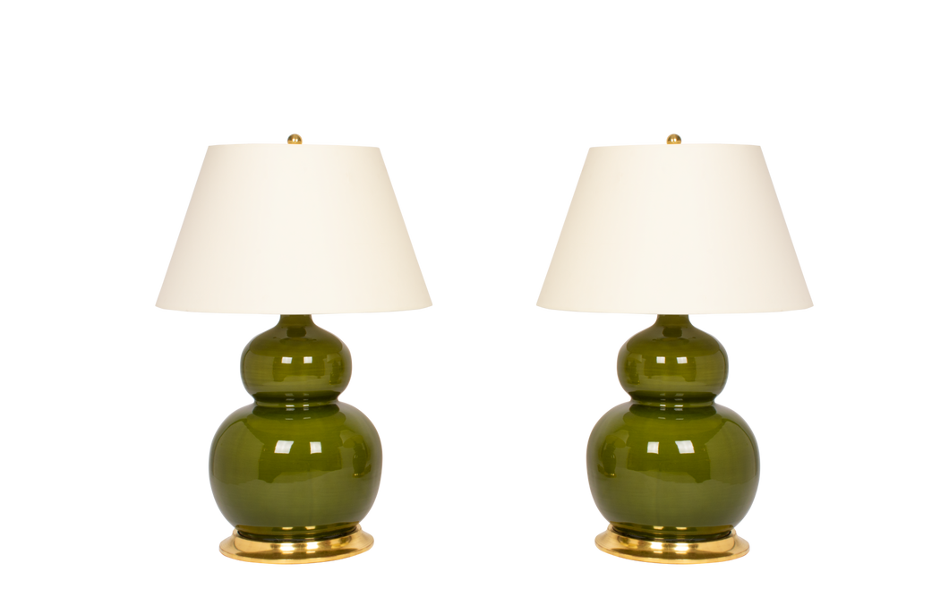 Stout Double Gourd Lamp Pair in Spruce
