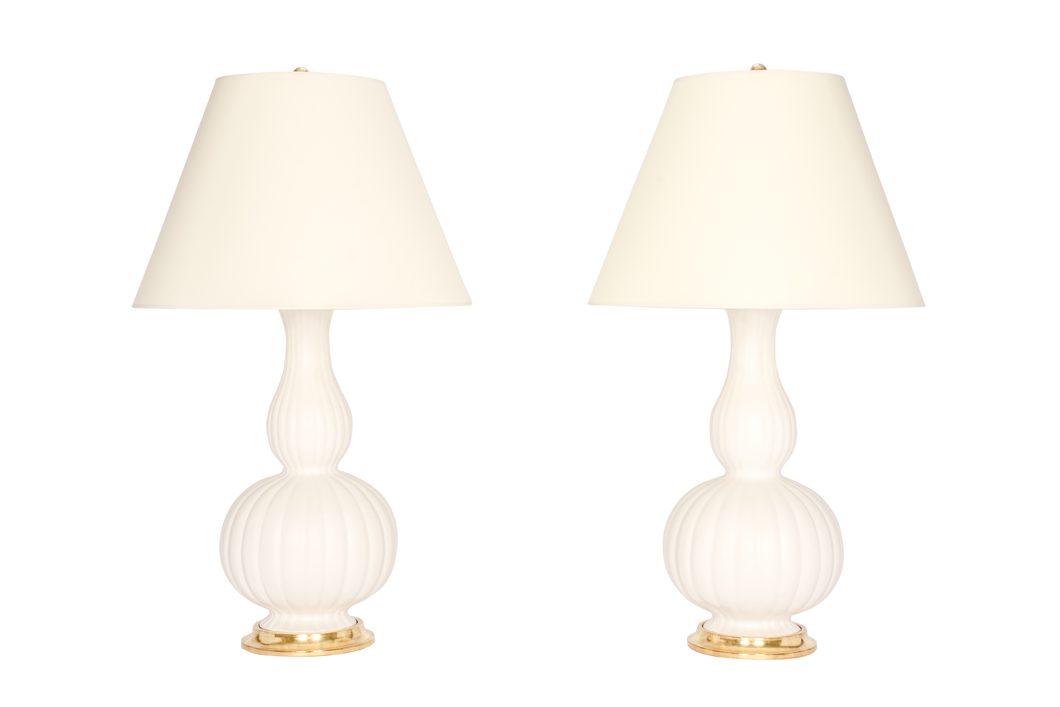 Suzanne Lamp Pair in Matte White
