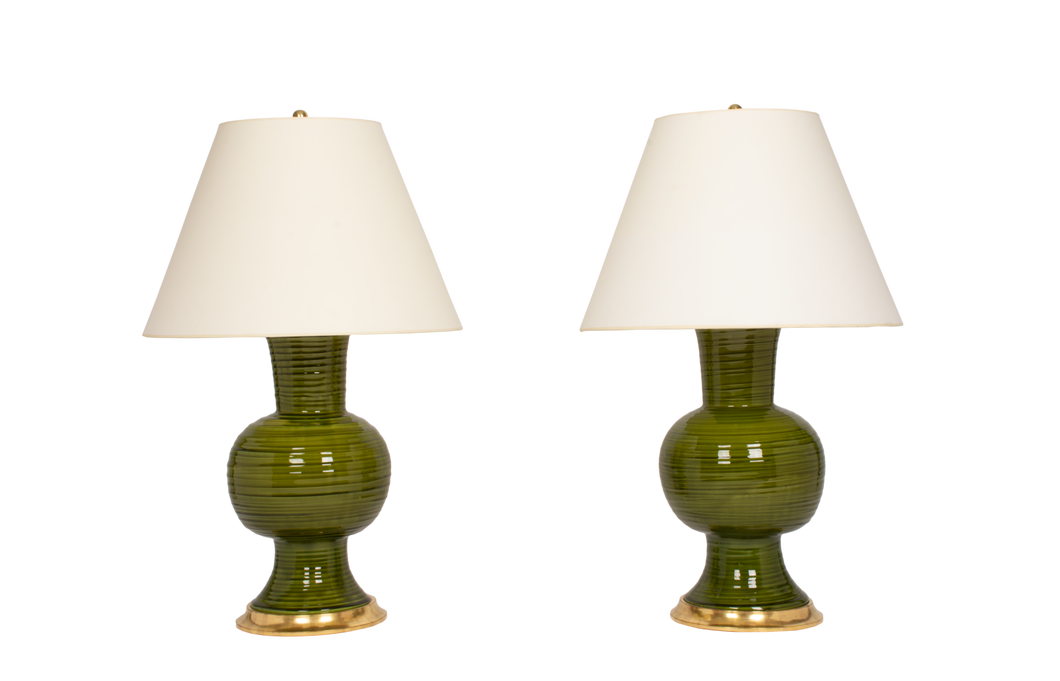 Todd Lamp Pair in Spruce with Throwing Lines