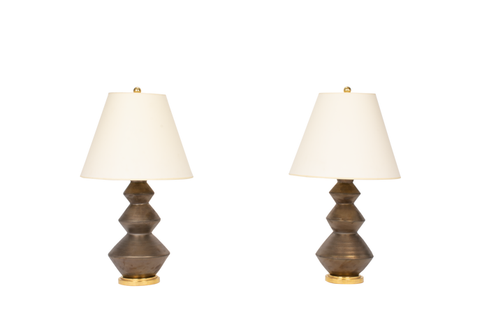 Triple Zig Zag Small Lamp Pair in Matte Bronze