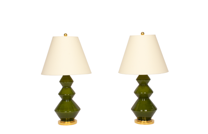 Triple Zig Zag Small Lamp Pair in Spruce