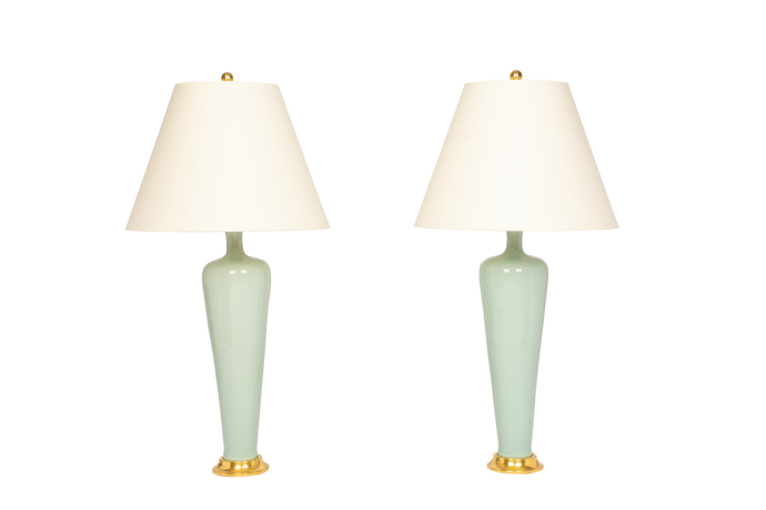 Anthony Medium Lamp Pair in Duck Egg