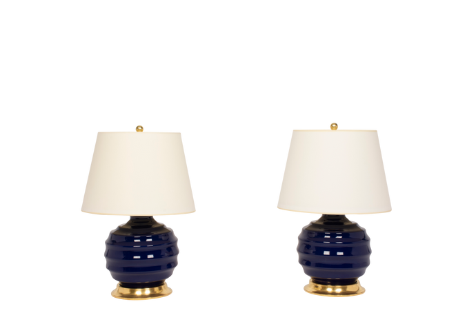 Wide Ribbed Ball Lamp Pair in Indigo