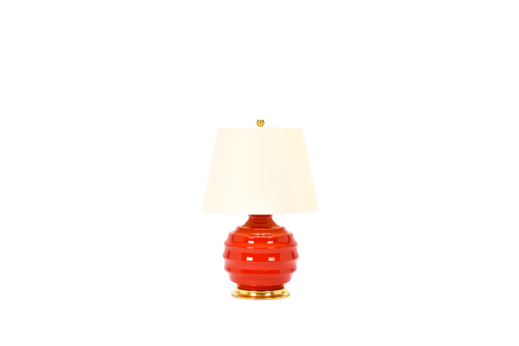 Wide Ribbed Ball Lamp in Red