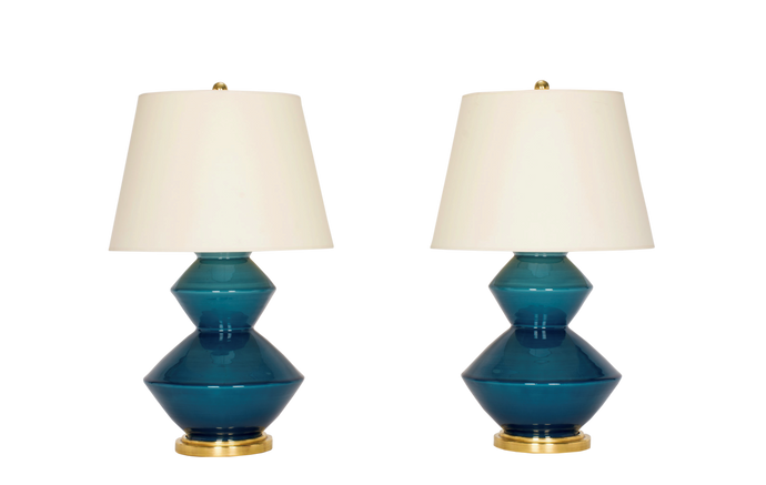 Wide Zig Zag Lamp Pair in Prussian Blue