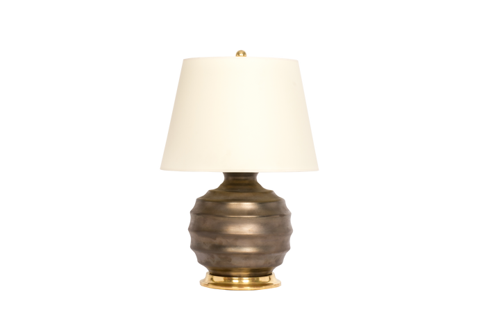 Wide Ribbed Ball Lamp in Matte Bronze