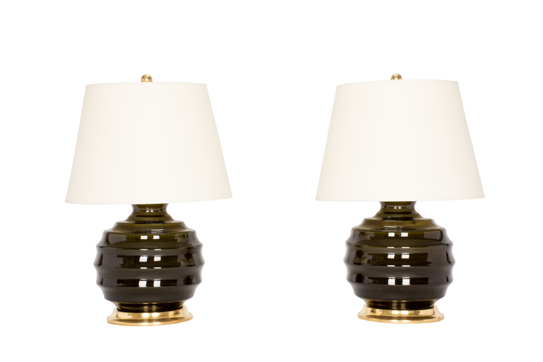 Wide Ribbed Ball Lamp Pair in Olive