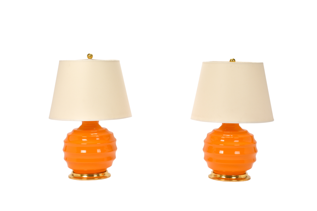 Wide Ribbed Ball Lamp Pair in Pumpkin