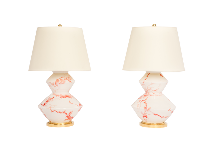 Wide Zig Zag Lamp Pair in Watermelon Marble