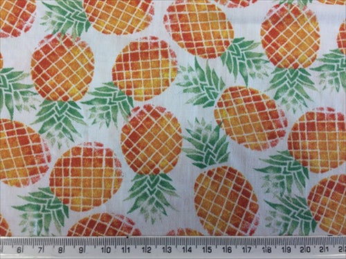 Fruit Pineapples on a White Background 100% Cotton Fabric