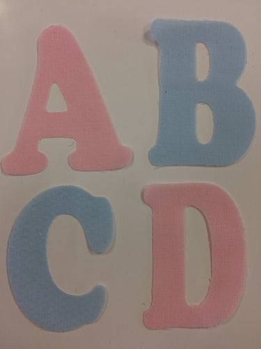 Iron on Fabric Applique Letters Pink or Blue