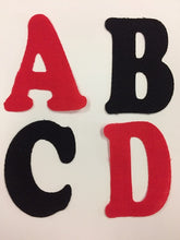 Load image into Gallery viewer, Iron on Fabric Applique Letters Red or Black