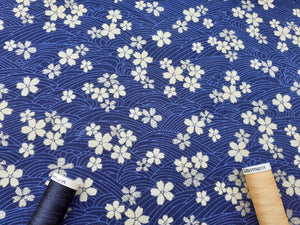 Japanese Metallic Gold Flowers on a Navy Background 100% Cotton