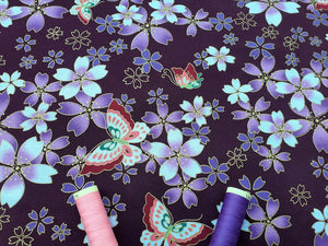 Japanese Metallic Butterflies & Floral Design on a Purple Background 100% Cotton