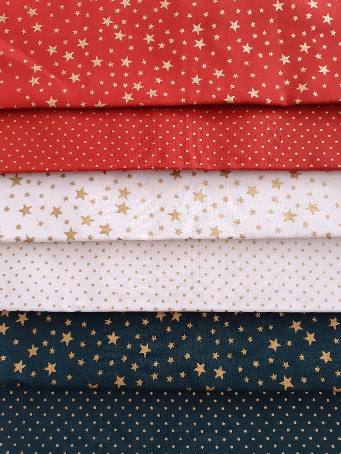 Christmas Gold Stars & Pin Spots Red Ivory & Bottle Green Fat Quarter Bundle  100% Cotton