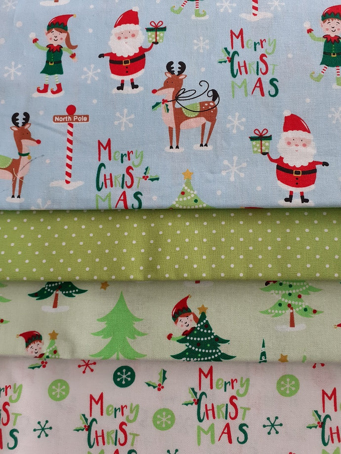 Merry Christmas Santa Elves & Reindeer Fat Quarter Bundle  100% Cotton