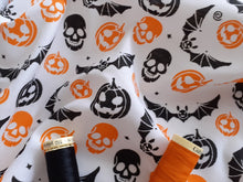 Load image into Gallery viewer, Halloween Pumpkins Skulls Bats Orange & Black on a White Background Poly Cotton