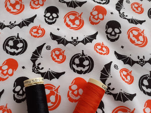 Halloween Pumpkins Skulls Bats Orange & Black on a White Background Poly Cotton