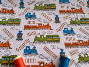 Steam Trains on a White Background Poly Cotton