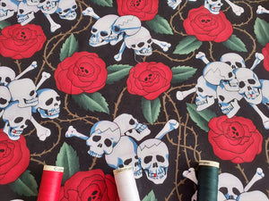 Skulls & Red Roses on a Black Background 100% Cotton