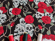 Load image into Gallery viewer, Skulls Red Roses & Thorns on a Black Background 100% Cotton