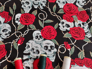 Skulls Red Roses & Thorns on a Black Background 100% Cotton