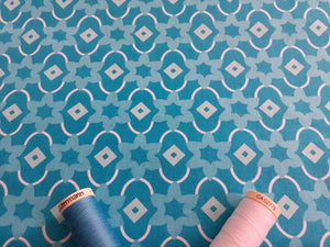 Classic Tiles 1 Turquoise & White Mix 100% Cotton