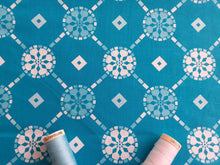 Load image into Gallery viewer, Classic Tiles 3 Turquoise & White Mix 100% Cotton
