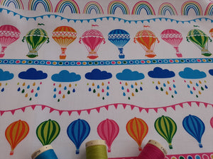 Hot Air Balloons Clouds & Rainbows Multi Color on a White Background 100% Cotton