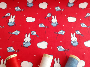 Miffy on Holiday Kite Flying on a Red Background Licenced 100% Cotton