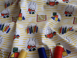 Miffy at School Writing on a Yellow Stripe Background Licenced 100% Cotton